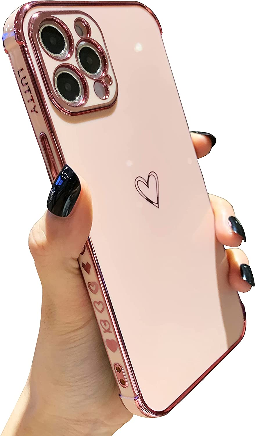 LUTTY Compatible with iPhone 12 Pro Max Case Cute, Luxury Electroplate Edge Bumper Case, Full Camera Lens Protection Raised Reinforced Corners iPhone 12 Pro Max Case (6.7 Inch) -Candy Pink