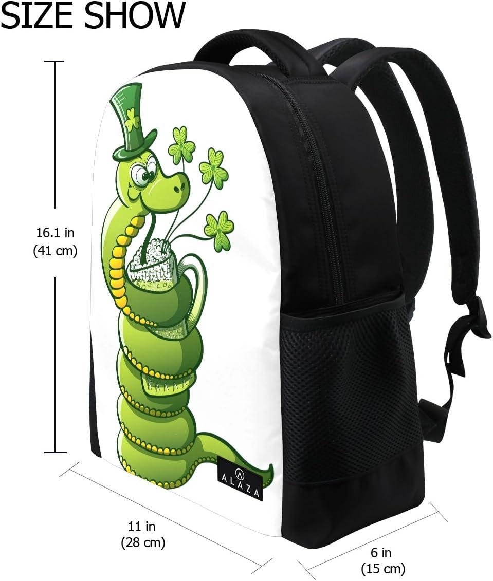 Backpack Rucksack Laptop Bag Shoulder Daypack for Student Dog Hat St Patricks Day 16x6x11in