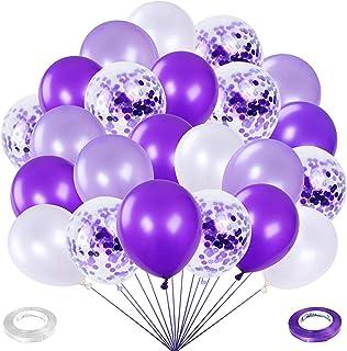 Ballon Violet Anniversaire, 60 pièces ballons de latex Blanc Violet, Ballons Mauve de 12 pouce Ballons de latex avec 2 rub...