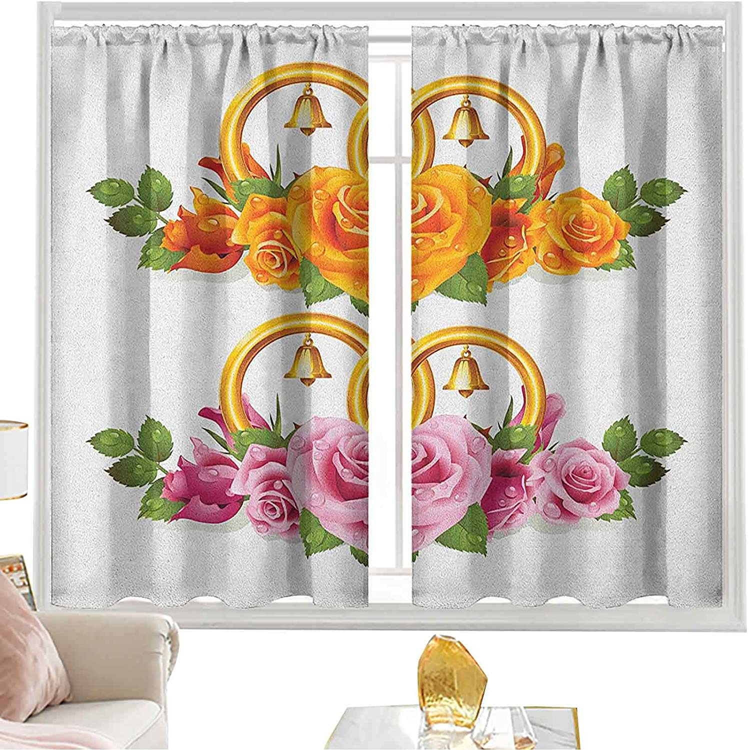 Blackout favorite Curtains Rod Pocket Bunch of with Roses Ranking TOP3 Rings and Bell