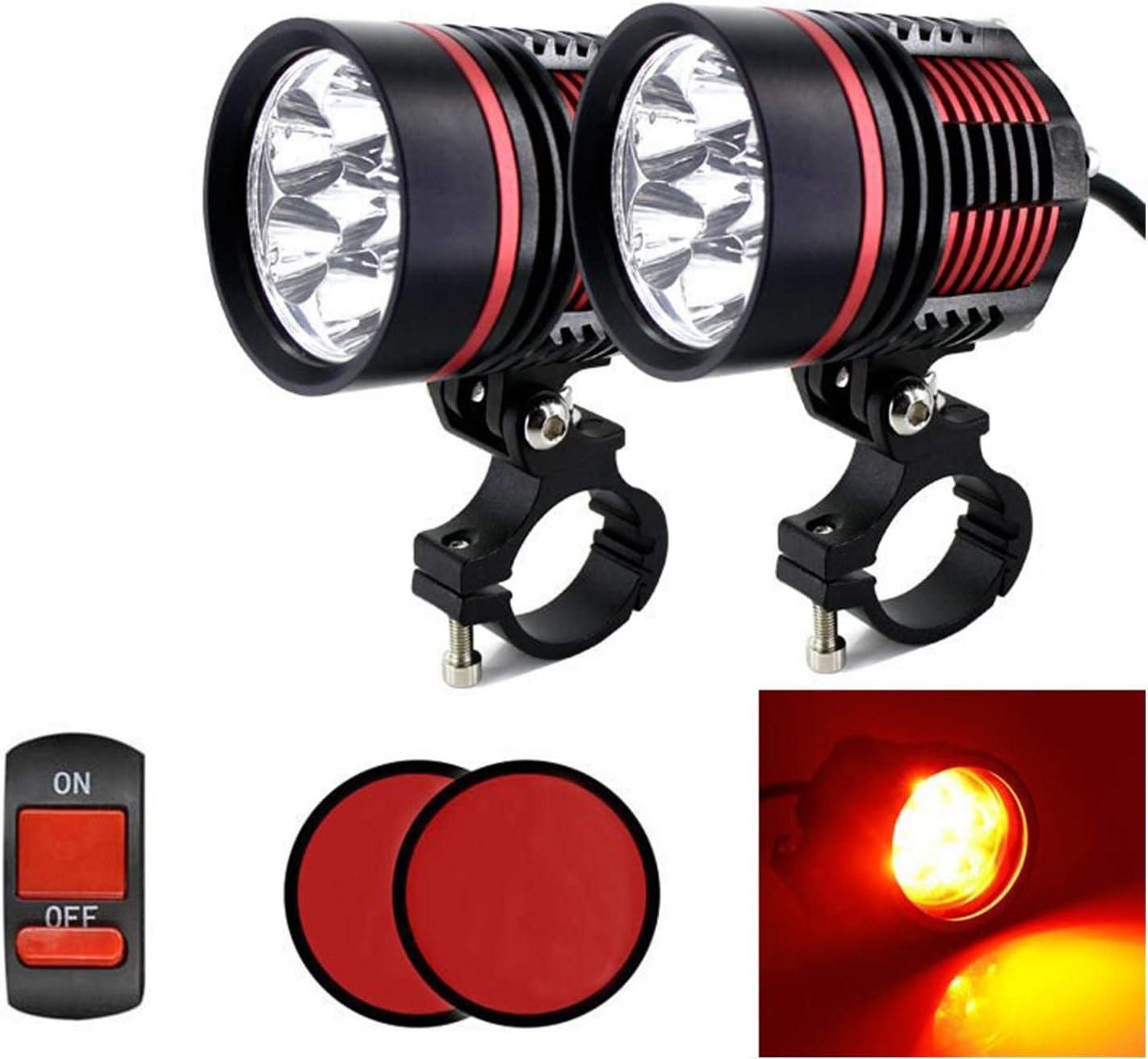 2 Piezas de luz de Alta Potencia de 60W 8000LM Motocicleta Faro del Punto 2X XM-L T6 LED de luz de Carretera con Interruptor de Niebla Color : Black