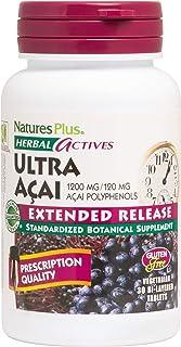 NaturesPlus Herbal Actives Ultra Acai - 1200 mg, 30 Vegetarian Tablets - Antioxidant & Prebiotic Supplement - Promotes Hea...