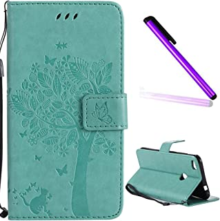 HUAWEI P8 Lite 2017 Case Cover EMAXELER Diamond Embossed Stylish Kickstand Case Credit Cards Slot Cash Pockets PU Leather Flip Wallet Case For HUAWEI P8 Lite 2017 Wish Tree Green