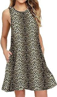 Daysing Damen Mode Sommer V-Ausschnitt Knielanges Kurzarm Kleid Mit Leopardenmuster