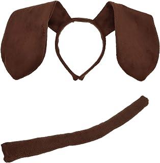 Animal Dog Long Ears Headband and Tail - Puppy Pooch Costume Accessory -Ears and Tail Set - Headband Ears