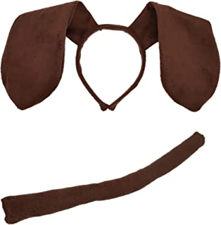 Animal Dog Long Ears Headband and Tail - Puppy Pooch Costume Accessory -Ears and Tail Set - Headband Ears Brown