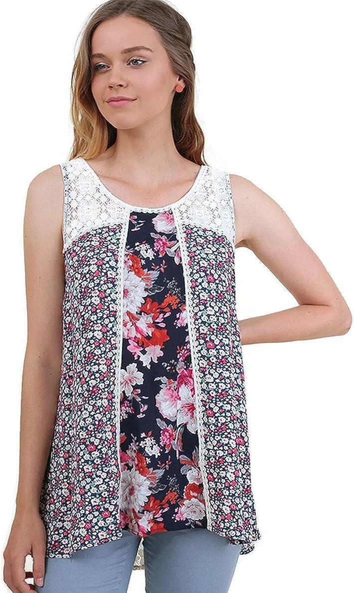 Umgee Women's Twin Print Lace Sleeveless Tunic Top