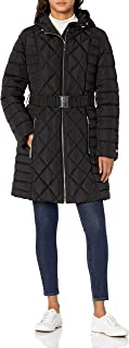 womens Belted Diamond Quilted Hooded Puffer