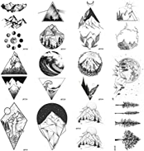 12 Pieces/Lot Geometry Triangle Mountain Temporary Tattoo Sticker Cover Women Body Arm Art Drawing Waterproof Fake Black Sea Weave Tatoos Paper Custom 10x6CM