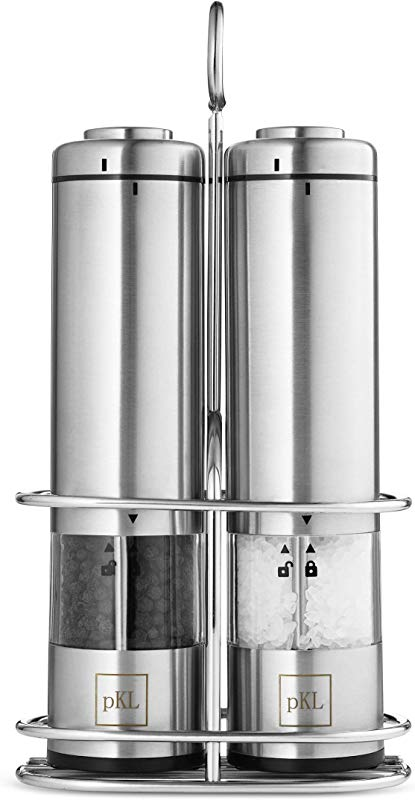Pro Kitchen Life Battery Operated Salt And Pepper Grinder Set Pack Of 2 Mills Durable Stainless Steel With Holder Tray Adjustable Ceramic Coarseness With LED Light And Caps At Bottom