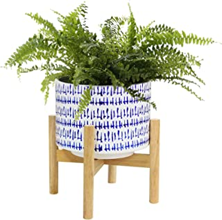 Ceramic Plant Pot with Wood Stand - 7.3 Inch Modern Round Decorative Flower Pot Indoor with Wood Planter Holder, Blue and ...