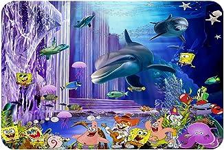 Ocean Bath Rugs Whale Shark Ocean Animals, Children Boy Kids Bathroom Decor Mat with Non Slip Backing (Purple)