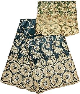 PENVEAT Afrikanische Spitzegewebe Goldstickerei Perlen für Frauen kleiden mit Tüll, 3L1700604B103