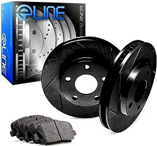 For Toyota 4Runner, FJ Cruiser R1 Concepts eLine Front Black Slotted Brake Rotors Kit + Ceramic Pads