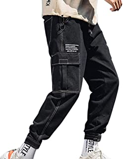 XYXIONGMAO Hip Hop Joggers Streetwear Cargo Pants for Men Teen Multi-Pocket Jeans Casual Loose Overalls