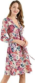 Allegra K Women' Deep V Neck Bow-Tie 3/4 Sleeves Vintage Chiffon Floral A-Line Dress