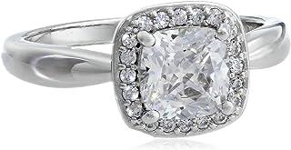 Myia Passiello 垫形切割透明施华洛世奇锆石光环戒指