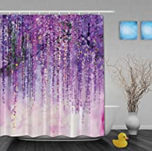 YUNBABA Art Watercolor Paniting Effect Flowers Wisteria Bokeh Decor Spring Landscape Purple Floral Tree Blossoms Bathroom Shower Curtains 60x72 Inch