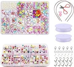 BHGWR Kit para Hacer Joyas para ni/ñas Juegos de artesan/ías para ni/ños Amistad 8 a 12 a/ños Kits para Hacer Pulseras con dijes Colgantes Cuentas Cadenas para Hacer Joyas