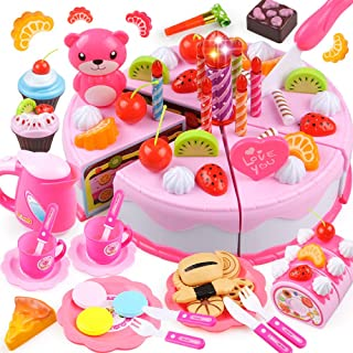 Geyiie Play Food Birthday Cake Toy Tea Party Dessert Set with Light,80 PCS Pretend Play Cutting Food Kitchen Toy with Tea Set Chocolate,Fruit Decor,Candles and More,Gift Choice for Toddlers Boys Girls