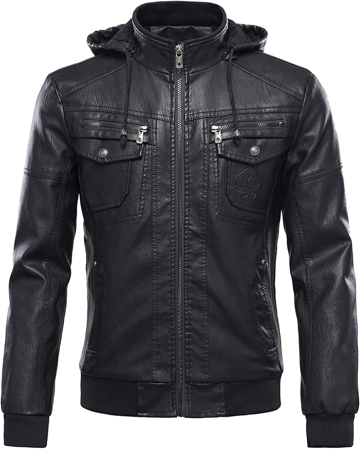 Tanming Men's Fleece Lined Motorcycle PU Faux Leather Jacket with Removable Hood