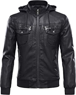 Men's Plus Velvet Motorcycle Pu Faux Leather Jacket with Removable Fur Hood