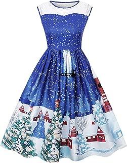 Christmas Dresses for Women Vintage Sleeveless Cocktail Dress Christmas Tree Santa Snow Printed Xmas Party Swing Dress