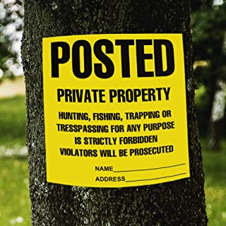 """Posted Private Property Signs, No Trespassing Signs, No Hunting Signs, No Trapping Signs, Weatherproof and Eco-Friendly Paper Material 100 pcs 11""""x 11"""