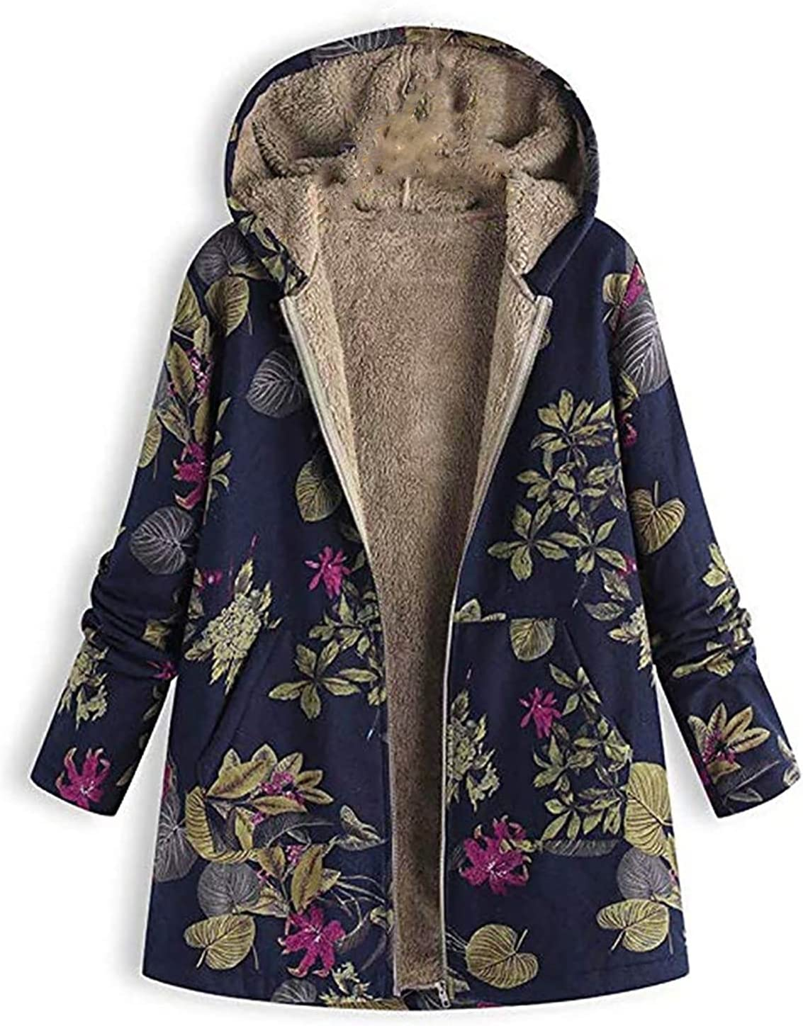 New Max 46% OFF popularity Womens Winter Fleece Jacket Floral Print Long Faux S Vintage Fur