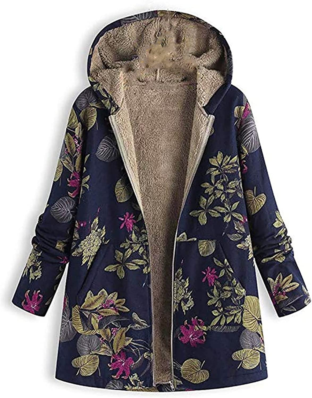 Women Outerwear Fashion Winter Warm Outwear Floral Print Hooded Pockets Jackets Vintage Oversize Coats