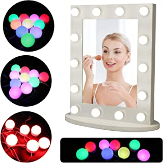 Vanity Mirror Lights Kit,Wall Mount Hollywood LED Mirror Lights with 14 Dimmable RGB Colorful DIY Light Bulbs, Lighting Fi...