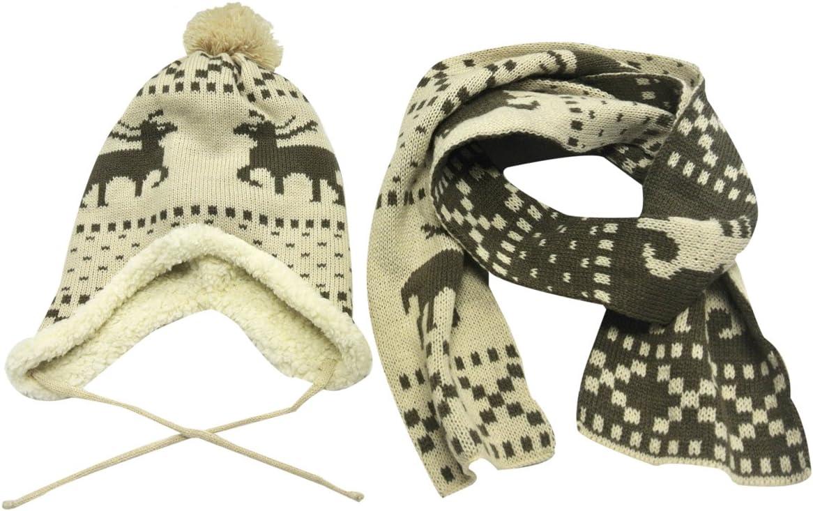 Wrapables Children's Reindeer Winter Hat and Scarf Set, Beige