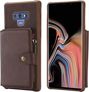 Samsung Galaxy Note9 Case,Zipper Protective Blue Cash Credit Card Holder Durable High Capacity Kickstand Cover Shell Yellow