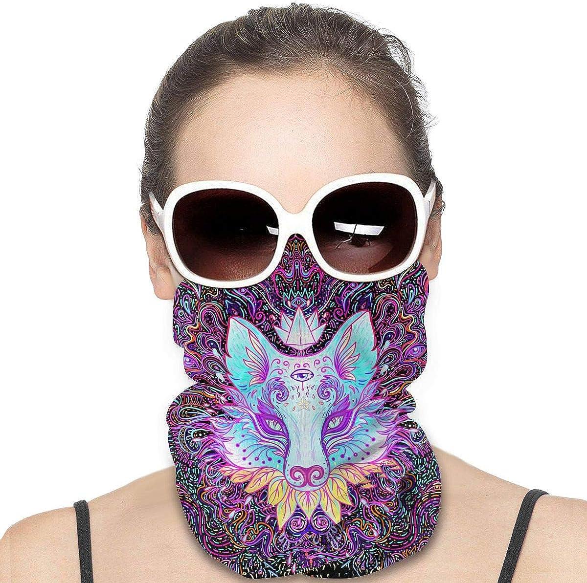 KiuLoam Women Bandanas Face Mask, Cute Fox Face Pattern Neck Gaiter Mask Headband for Men Face Scarf Dust, Outdoors, Sports