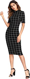 Women's Short Sleeve Gingham Bodycon Business Pencil Dress