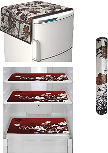 Goel Home Decor Exclusive Decorative Combo of 1 Fridge Top Cover Brown Leaf 1 Handle Covers Brown Leaf and 3 Fridge Mats Brown Flower 5 Pieces Set