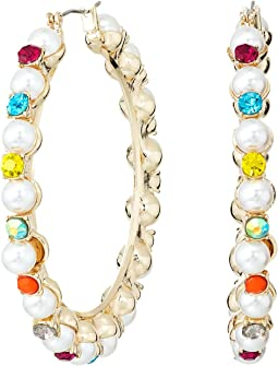 Betsey Johnson - Pearl and Rhinestone Hoop Earrings