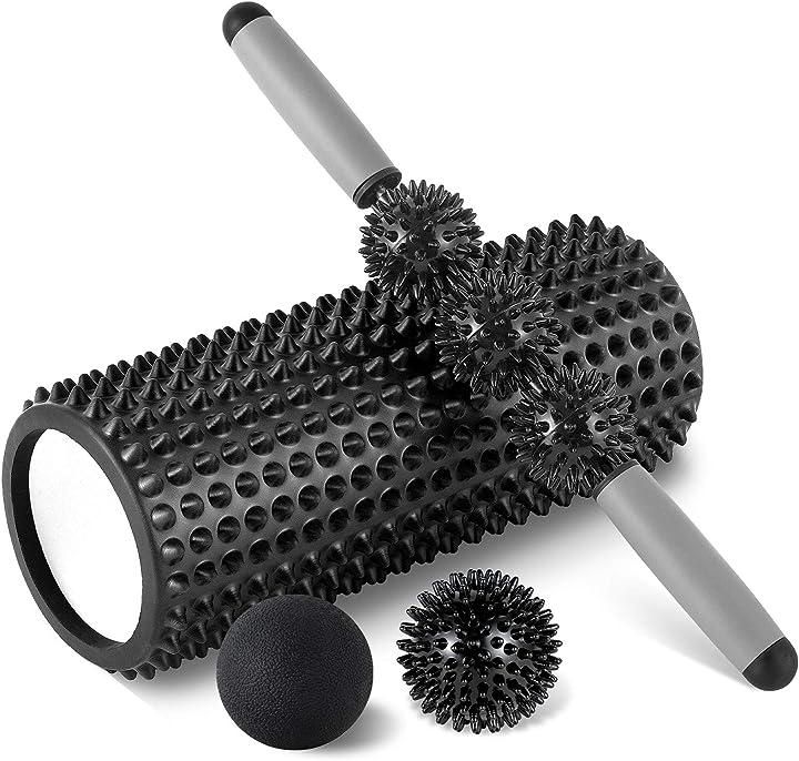 Rullo massaggio muscolare set kit fitness foam roller in schiuma spiky ball lacrosse ball bastone hb select B087BNRLCY