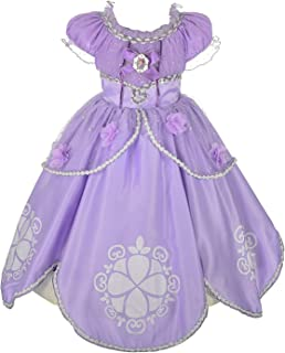 Little Girls Fancy Long Summer Dresses with Floral Appliques Princess Sofia Costumes Birthday Party Dress up