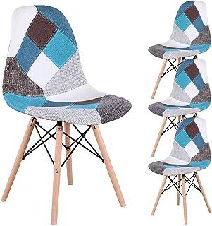 INJOY LIFE - Sillas de comedor retro con retazos de tela, sillas laterales para cocina, comedor, sala de estar, juegos de 4, color azul