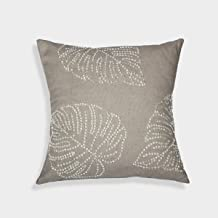 A1 Home Collections RCC-1469 A1HC Handcrafted Cream Cotton 18-inch Leaf Pattern Sequin Throw Pillow,Beige,