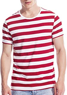 Mens Striped Shirt Basic Even Stripe Tee Basic Pattern T Shirt Top Cotton
