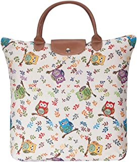 Owl Pattern Foldable Shopping Bag/Folding Reusable Shopping Bag by Signare Tapestry (FDAW-OWL)