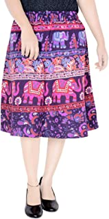 Sttoffa Animal Printed Cotton Knee Length Elastic Waist Skirt (Exact Length 24 INCH D1)