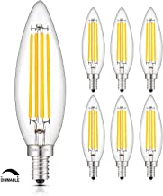 OMAYKEY 8W Dimmable LED Candelabra Bulb 80W Equivalent 800LM 2700K Warm White, Lengthened B11 Clear Glass Candle Torpedo Tip, E12 Base LED Filament Chandelier Light Bulbs, Deep Dimming Version, 6 Pack