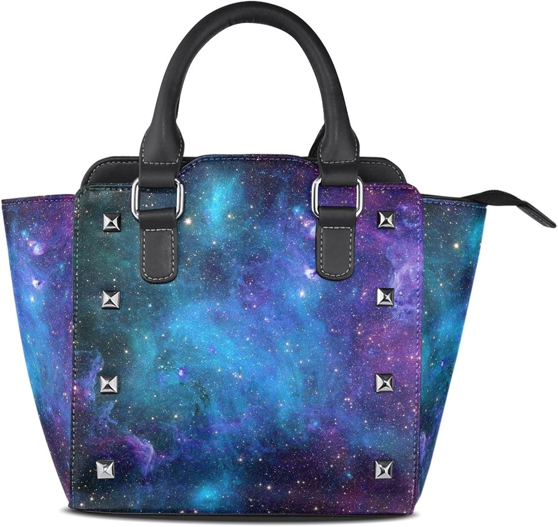 My Little Nest Women's Top Handle Satchel Handbag Abstract Space Galaxy Stars Ladies PU Leather Shoulder Bag Crossbody Bag