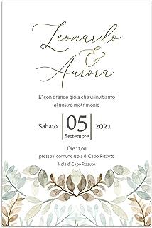Partecipazioni matrimonio personalizzate - inviti nozze greenery foglie verdi 10 pezzi