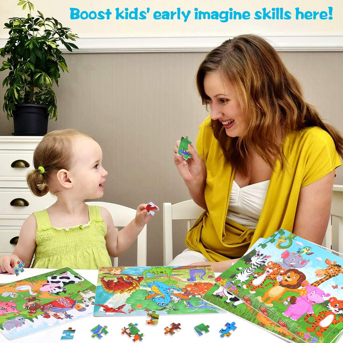 Puzzles for Kids Ages 3-8 4 Pack Wooden Jigsaw Puzzles 100 Pieces Preschool Educational Learning Toys Set for Boys Girls