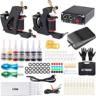 Stigma Tattoo Kit Complete 2 Tattoo Machine Guns Kit for Beginner 7 Inks Professional Power Supply Foot Pedal for Liner and Shader TK-ST201