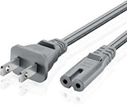 TNP Universal 2 Prong Power Cord (3 Feet) - NEMA 1-15P to IEC320 C7 Shotgun Connector AC Power Supply Cable Wire Socket Plug Jack (Gray) Compatible with Apple TV, PS4, PS3 Slim, LED HDTV